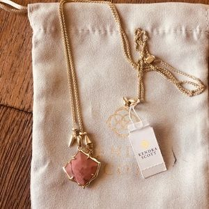 Kendra Scott Arlet Gold Necklace Pink Stone NWT
